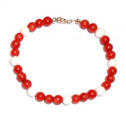 Red Coral and White Agate Ladies Bracelet CR207