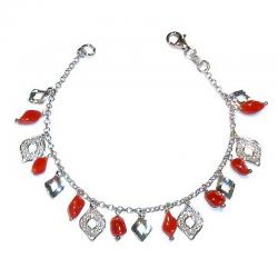 Red Coral with Silver Ladies Bracelet CR215