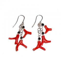 Red Coral Onix and Silver Ladies Earrings CR229