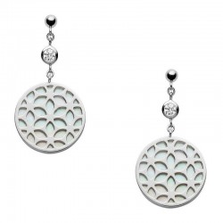 Buy Fossil Ladies Earrings Sterling Silver JFS00461040 Mother of Pearl