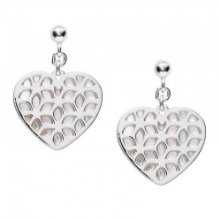 Buy Fossil Ladies Earrings Sterling Silver JFS00489040 Heart Mother of Pearl