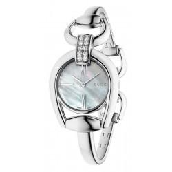 Gucci Ladies Watch Horsebit Small YA139504 Diamonds Mother of Pearl