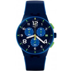 Swatch Men's Watch Chrono Plastic Bleu Sur Bleu SUSN409 Chronograph